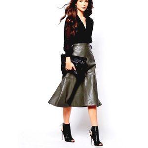 St. John Leather A-Line Skirt